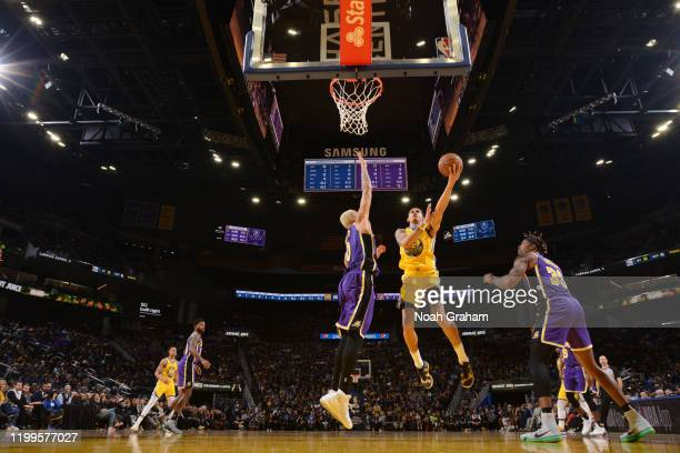 Juan ToscanoAnderson of the Golden State Warriors shoots the ball against the Los Angeles Lakers on February 8 2020 at Chase Center in San Francisco...