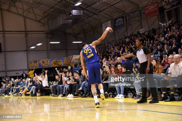 Juan ToscanoAnderson of the Santa Cruz Warriors celebrates after a shot against the Memphis Hustle during an NBA GLeague game on February 1 2020 at...
