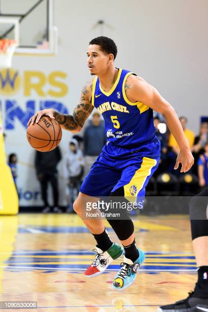 Juan ToscanoAnderson of the Santa Cruz Warriors handles the ball against the South Bay Lakers during the NBA G League on January 27 2019 at Kaiser...