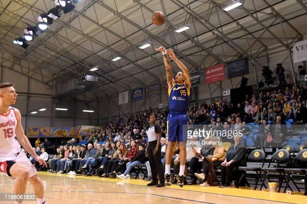 Juan ToscanoAnderson of the Santa Cruz Warriors puts up a shot against the Memphis Hustle during an NBA GLeague game on February 1 2020 at the Kaiser...