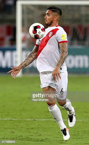 Juan Vargas of Peru controls the ball during a match between Peru and Venezuela as part of FIFA 2018 World Cup Qualifiers at Nacional Stadium on...