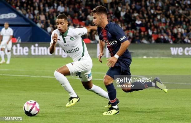 Juan Velasco Bernat of Paris SaintGermain in action during the French Ligue 1 match between Paris Saint Germain and AS Saint Etienne on September 14...