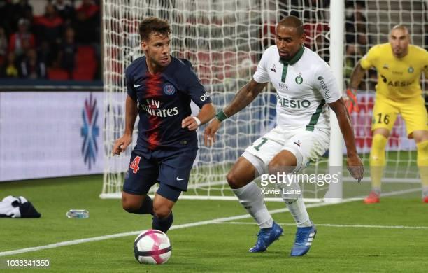 Juan Velasco Bernat of Paris SaintGermain in action with Gabriel Antunes Da Silva of Saint Etianne ASSE during the French Ligue 1 match between Paris...