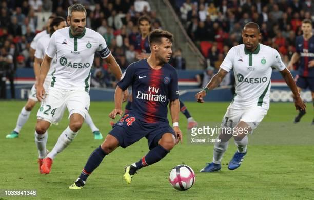 Juan Velasco Bernat of Paris SaintGermain in action with Loic Perrin and Gabriel Antunes Da Silva of Saint Etianne ASSE during the French Ligue 1...