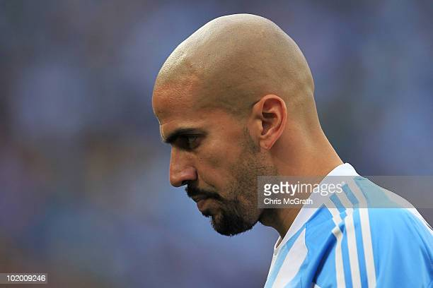 Juan Veron of Argentina during the 2010 FIFA World Cup South Africa Group B match between Argentina and Nigeria at Ellis Park Stadium on June 12 2010...