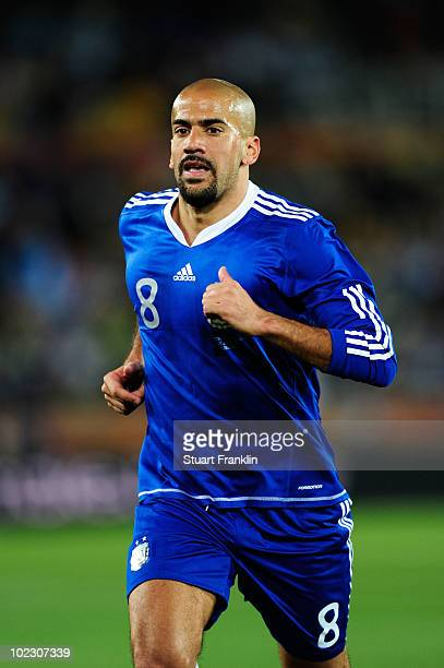 Juan Veron of Argentina during the 2010 FIFA World Cup South Africa Group B match between Greece and Argentina at Peter Mokaba Stadium on June 22...