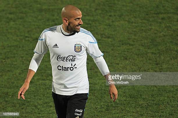 Juan Veron of Argentina's national football team walks from the field during a team training session on July 1 2010 in Pretoria South Africa