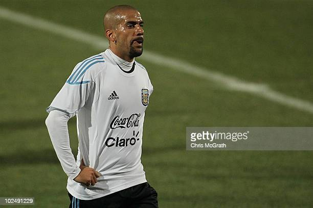 Juan Veron of Argentina's national football team walks off the pitch after a team training session on June 23 2010 in Pretoria South Africa