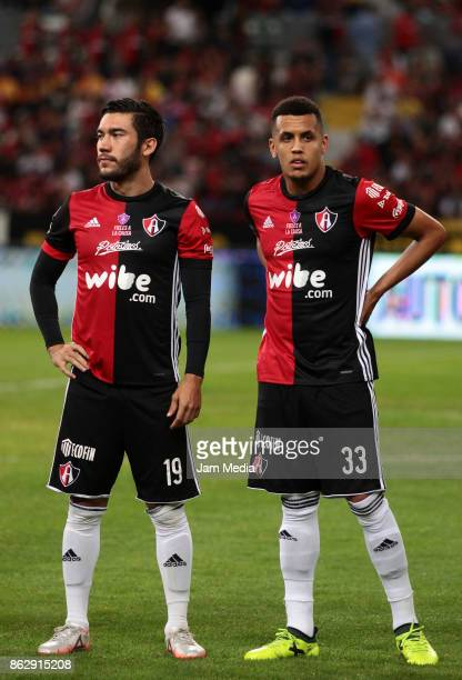 Juan Vigon and Ravel Morrison of Atlas look on during the 10nd round match between Atlas and Morelia as part of the Torneo Apertura 2017 Liga MX at...