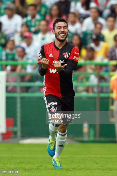 Juan Vigon of Atlas celebrates after scoring his team's first goal during the 1st round match between Leon and Atlas as part of the Torneo Apertura...