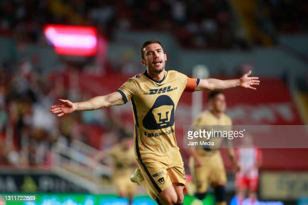 Juan Vigon of Pumas celebrates after scoring the first goal of his team during the 14th round match between Necaxa and Pumas UNAM as part of the...