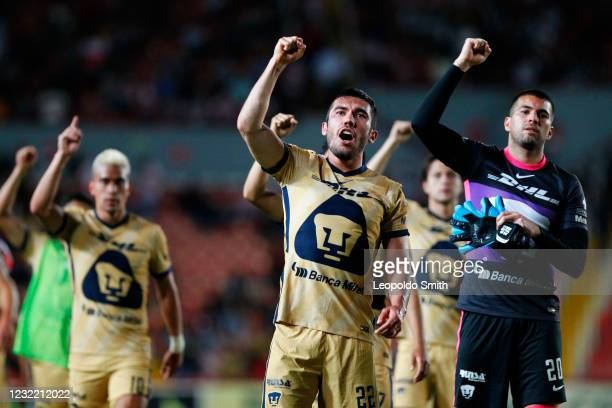 Juan Vigon of Pumas UNAM celebrates the victory after the 14th round match between Necaxa and Pumas UNAM as part of the Torneo Guard1anes 2021 Liga...