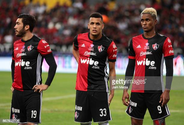 Juan Vigon Ravel Morrison and Fidel Martinez of Atlas look on during the 10nd round match between Atlas and Morelia as part of the Torneo Apertura...