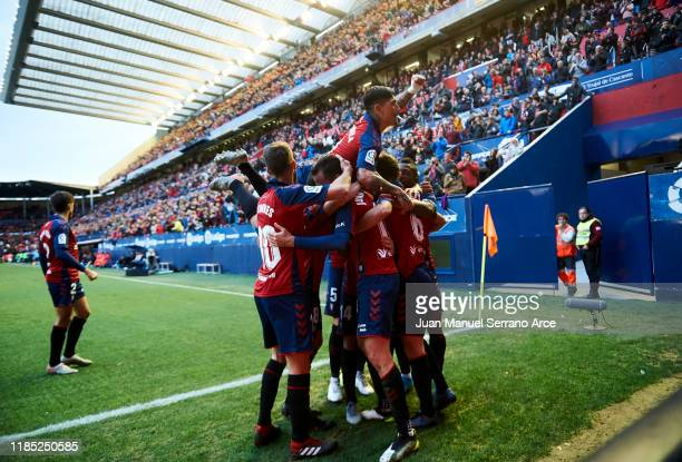 Juan Villar of CA Osasuna celebrates after scoring his team's fourth goal during the Liga match between CA Osasuna and Deportivo Alaves at El Sadar...