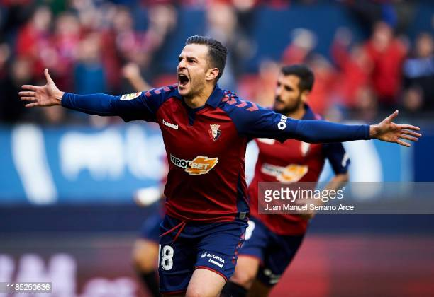 Juan Villar of CA Osasuna celebrates after scoring his team's fourth goal during the Liga match between CA Osasuna and Deportivo Alaves at El Sadar...