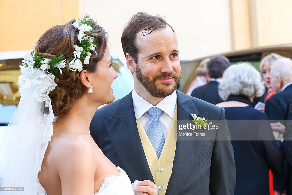 Juan Zorreguieta and Andrea Wolf get married at Servite Church on June 07, 2014 in Vienna, Austria.