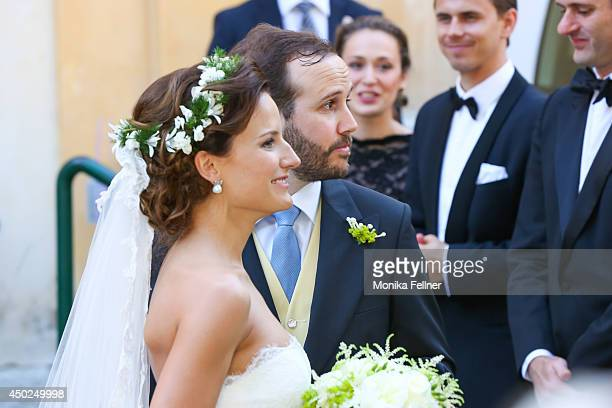 June 07: Juan Zorreguieta and Andrea Wolf get married at Servite Church on June 07, 2014 in Vienna, Austria.