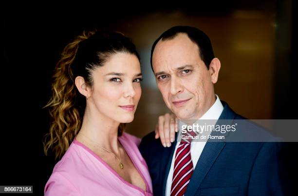 Juana Acosta and Luis Callejo during 'Jefe' on set filming in Madrid on October 26 2017 in Madrid Spain