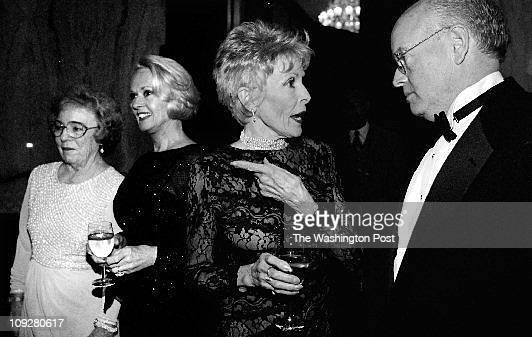Juana Arias TWP Russian Embassy Wisconsin Ave Pat Hitchcock O'connell Tippi Hedren Janet Leigh and Dr Bob Beal talking at receiving line during an...