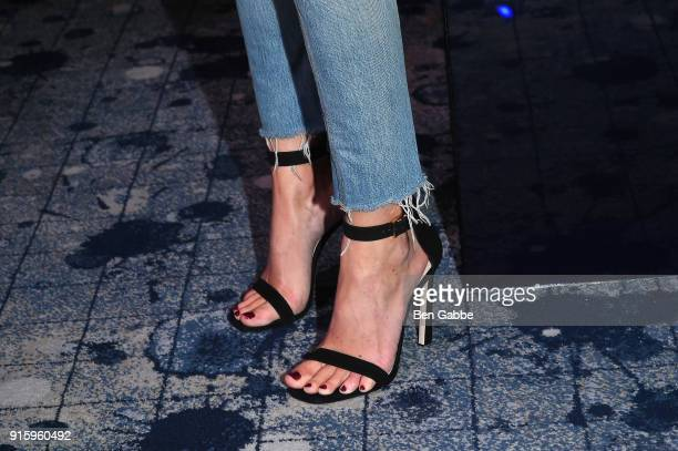 Juana Burga shoe detail attends the Stuart Weitzman FW18 Presentation and Cocktail Party at The Pool on February 8 2018 in New York City