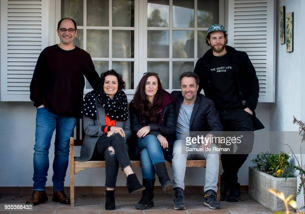 Juana Macia Daniel Guzman Silvia Abril Jordi Sanchez and Alvaro Cervantes during ÔBajo El Mismo Techo' On Set Filming on March 20 2018 in Madrid Spain