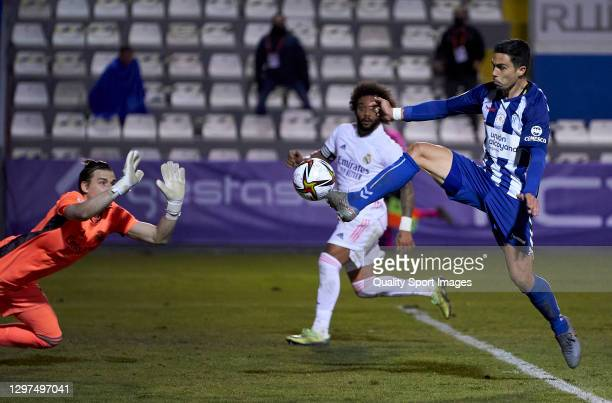 Juanan Casanova of CD Alcoyano scores his team's second goal during the Copa del Rey third round match between CD Alcoyano and Real Madrid at El...