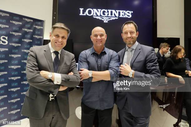 JuanCarlos Capelli Andre Agassi and Pascal Savoy appear as Longines launches the Conquest VHP at the Longines Boutique at the Westfield World Trade...