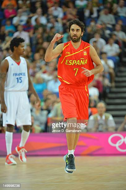 JuanCarlos Navarro of Spain celebrates against France during their Men's Basketball Game on Day 12 of the London 2012 Olympic Games at the North...