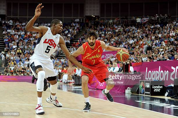 JuanCarlos Navarro of Spain dribbles the ball against Kevin Durant of the United States during the Men's Basketball gold medal game between the...