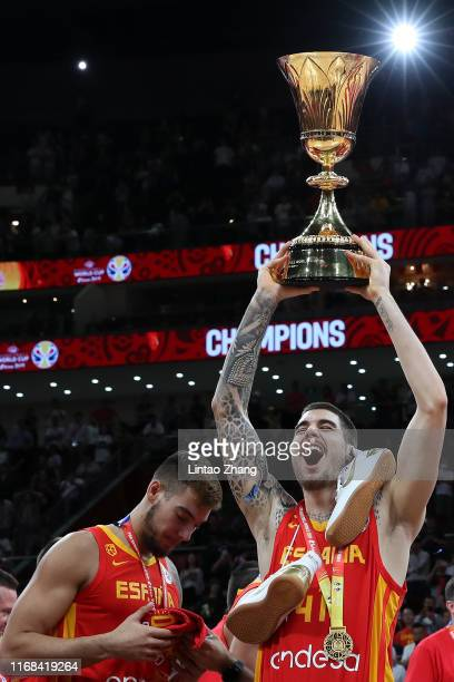 Juancho Hernangomez of Spain hold the winning trophy celebrates after defeating Argentina during the final of 2019 FIBA World Cup match between...