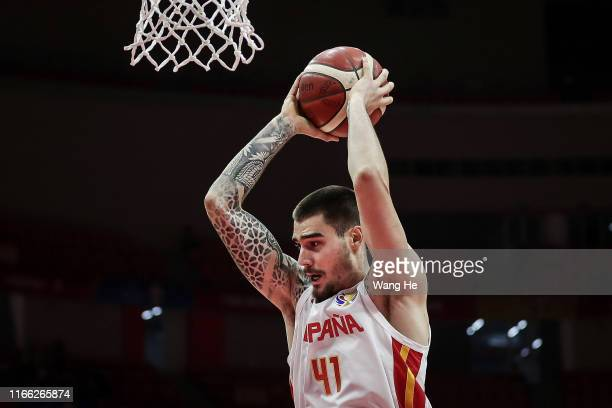 Juancho Hernangomez of Spain reacts against Italy during FIBA World Cup 2019 Group J match between Spain and Italy at Wuhan Sports Centre on...
