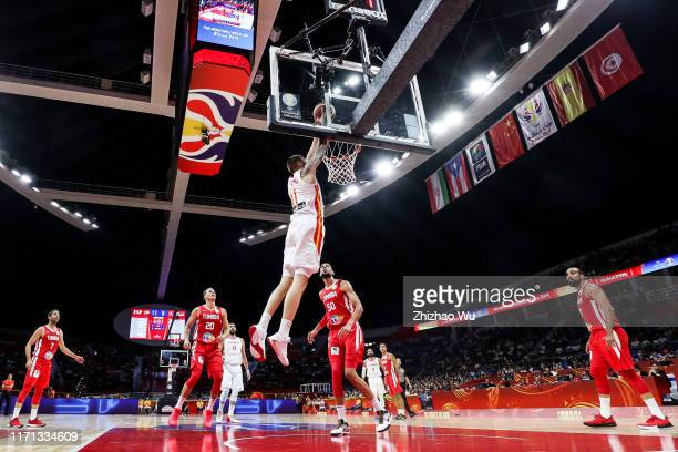 Juancho Hernangomez of Spain slam dunk during the 2019 FIBA World Cup first round match between Spain and Tunisia at Guangzhou Gymnasium on August 31...