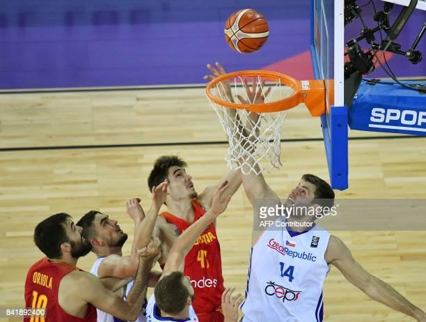 Juancho Hernangomez of Spain vies with Kamil Svrdlik of Czech Republic during the Group C of the FIBA Eurobasket 2017 mens basketball match between...