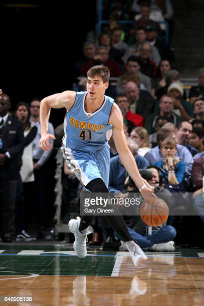 Juancho Hernangomez of the Denver Nuggets handles the ball against the Milwaukee Bucks on March 1 2017 at the BMO Harris Bradley Center in Milwaukee...