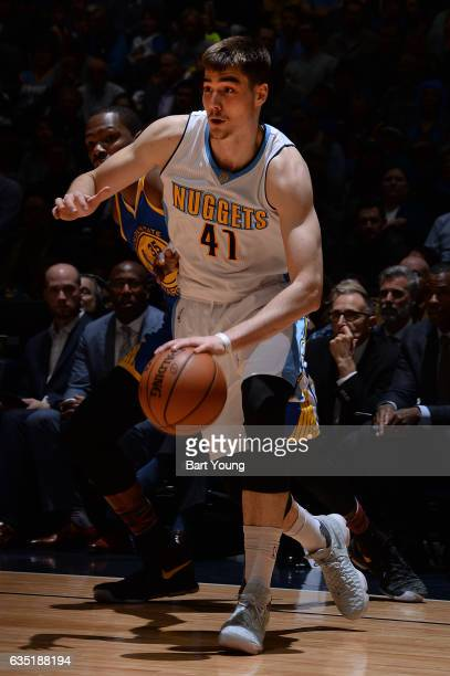 Juancho Hernangomez of the Denver Nuggets handles the ball during the game against the Golden State Warriors on February 13 2017 at the Pepsi Center...