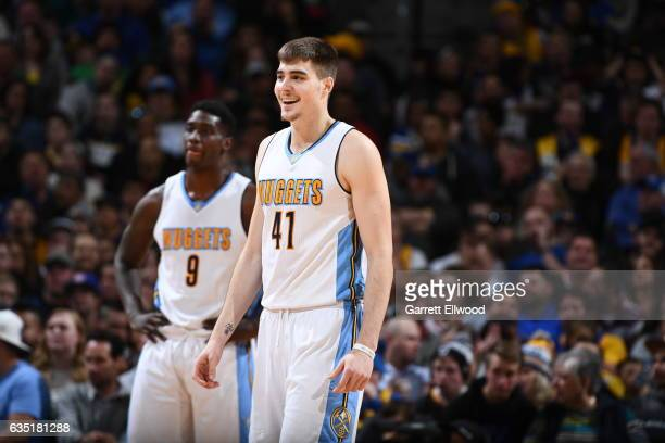 Juancho Hernangomez of the Denver Nuggets is seen during the game against the Golden State Warriors on February 13 2017 at the Pepsi Center in Denver...
