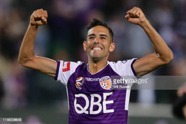 Juande of the Glory celebrates after defeating the Reds during the ALeague Semi Final match between the Perth Glory and Adelaide United at HBF Park...