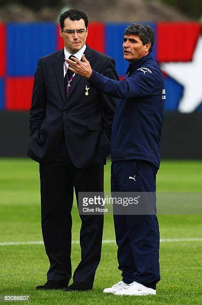 Juande Ramos of Tottenham Hotspur looks on with Tottenham sporting director Damien Comolli prior to the UEFA Cup First Round Second Leg match between...