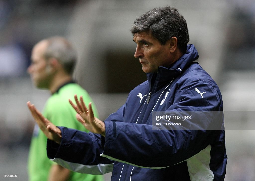 Juande Ramos the Tottenham Hotspur manager issues instructions from the touchline during the Carling Cup Third Round match between Newcastle United and Tottenham Hotspur at St James' Park on September 24, 2008 in Newcastle, England.