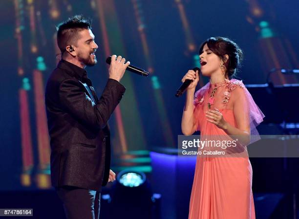Juanes and Camila Cabello perform onstage during the 2017 Person of the Year Gala honoring Alejandro Sanz at the Mandalay Bay Convention Center on...