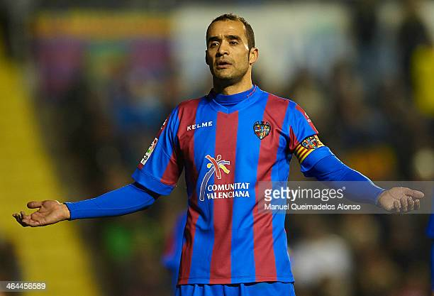 Juanfran Garcia of Levante reacts after conceding a goal during the Copa del Rey Quarter Final First Leg match between Levante UD and FC Barcelona at...