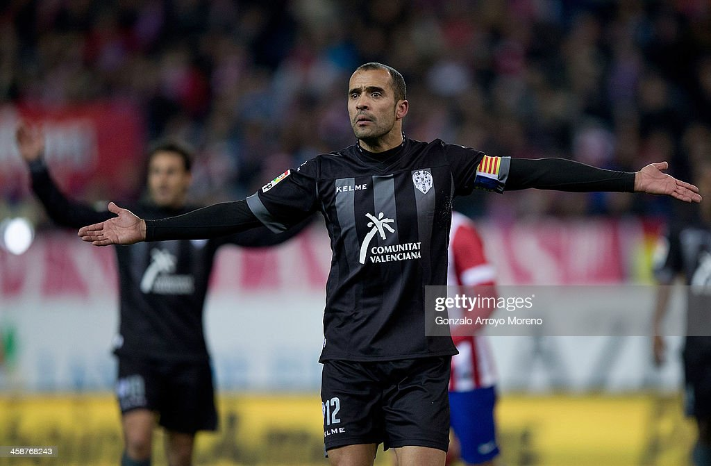 Juanfran Gracia of Levante UD protests to the referee during the La Liga match between Club Atletico de Madrid and Levante UD at Vicente Calderon Stadium on December 21, 2013 in Madrid, Spain.