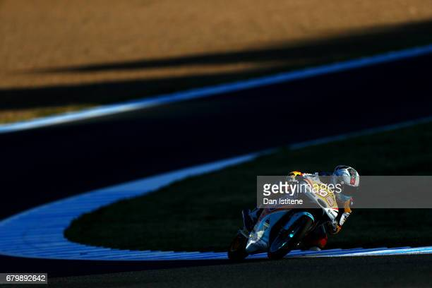 Juanfran Guevara of Spain and the RBA BOE Racing Team rides during warm-up for Moto3 at Circuito de Jerez on May 7, 2017 in Jerez de la Frontera,...
