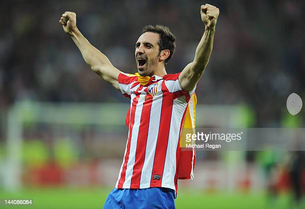 Juanfran of Atletico Madrid celebrates victory at the end of the UEFA Europa League Final between Atletico Madrid and Athletic Bilbao at the National...