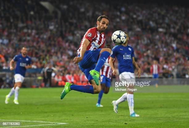 Juanfran of Atletico Madrid controls the ball during the UEFA Champions League Quarter Final first leg match between Club Atletico de Madrid and...