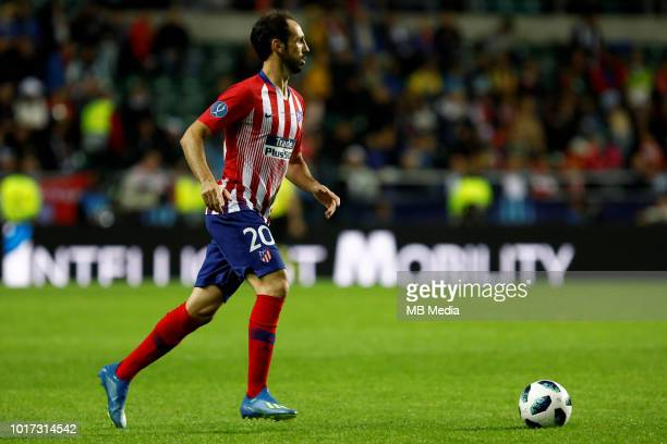 Juanfran of Atletico Madrid controls the ball during the UEFA Super Cup match between Real Madrid and Atletico Madrid at Lillekula Stadium on August...