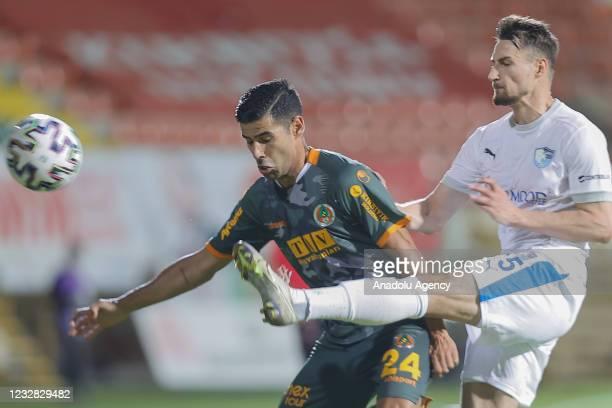 Juanfran of Aytemiz Alanyaspor in action during the Turkish Super Lig week 41 match between Aytemiz Alanyaspor and Buyuksehir Belediye Erzurumspor in...