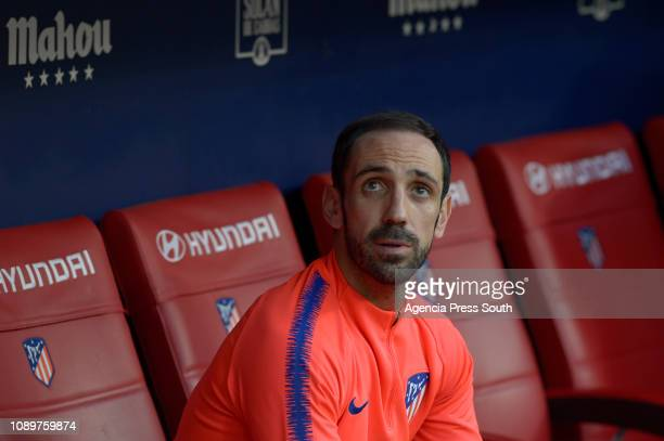 Juanfran of Club Atletico de Madrid looks on prior to the La Liga match between Club Atletico de Madrid and Getafe CF at Wanda Metropolitano on...