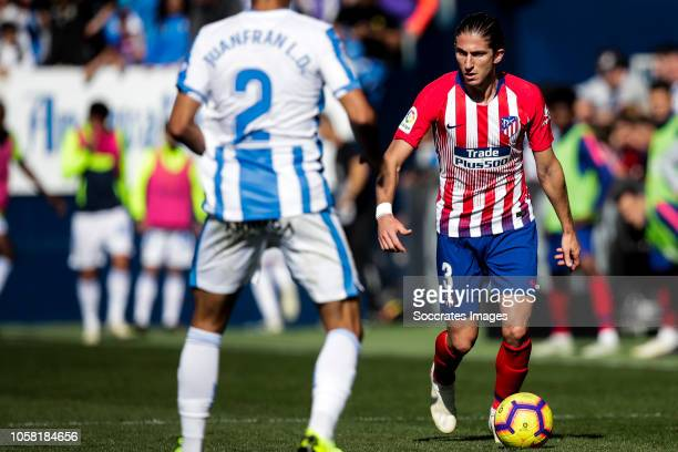 Juanfran of Leganes Filipe Luis of Atletico Madrid during the La Liga Santander match between Leganes v Atletico Madrid at the Estadio Municipal de...