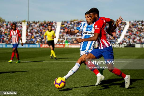 Juanfran of Leganes Thomas Lemar of Atletico Madrid during the La Liga Santander match between Leganes v Atletico Madrid at the Estadio Municipal de...